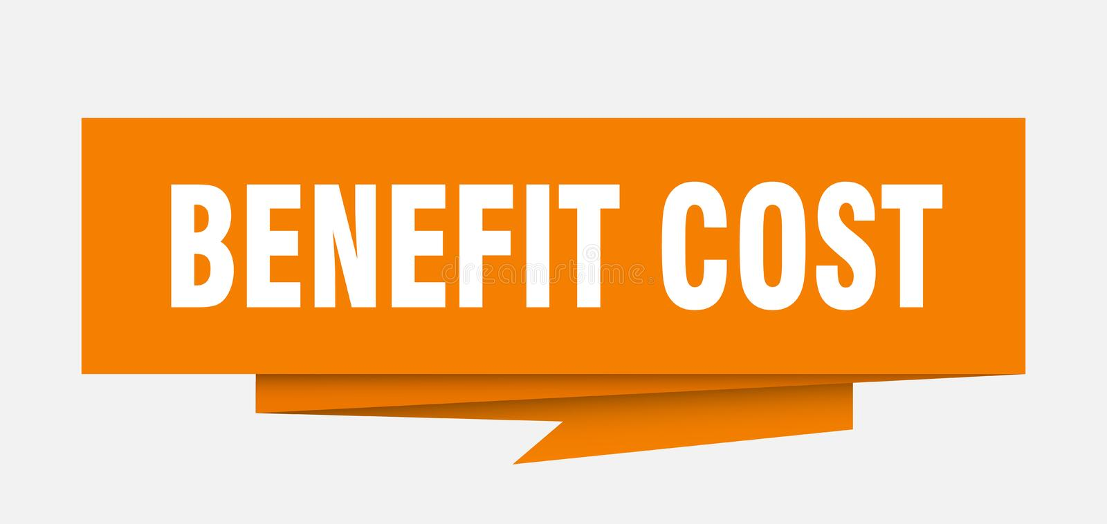Benefit cost. Sign.  paper origami speech bubble.  tag.  banner vector illustration