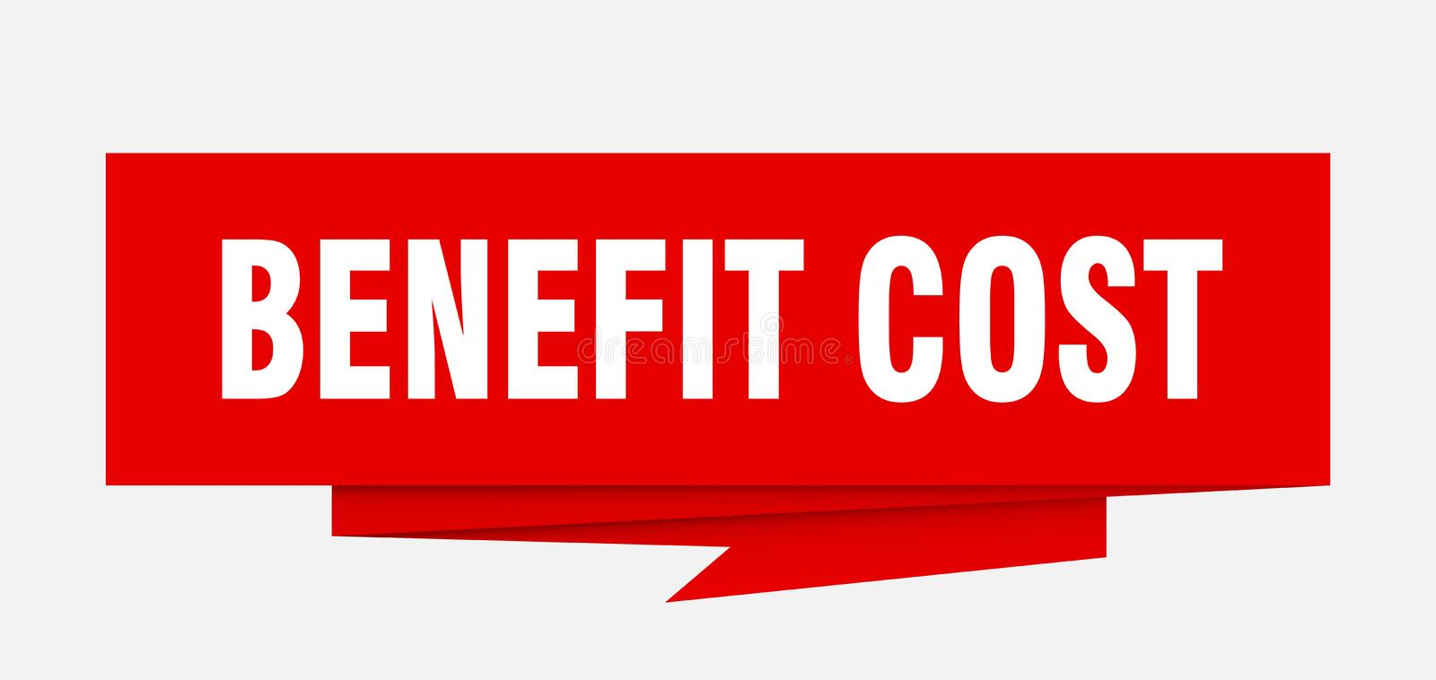 Benefit cost. Sign.  paper origami speech bubble.  tag.  banner stock illustration