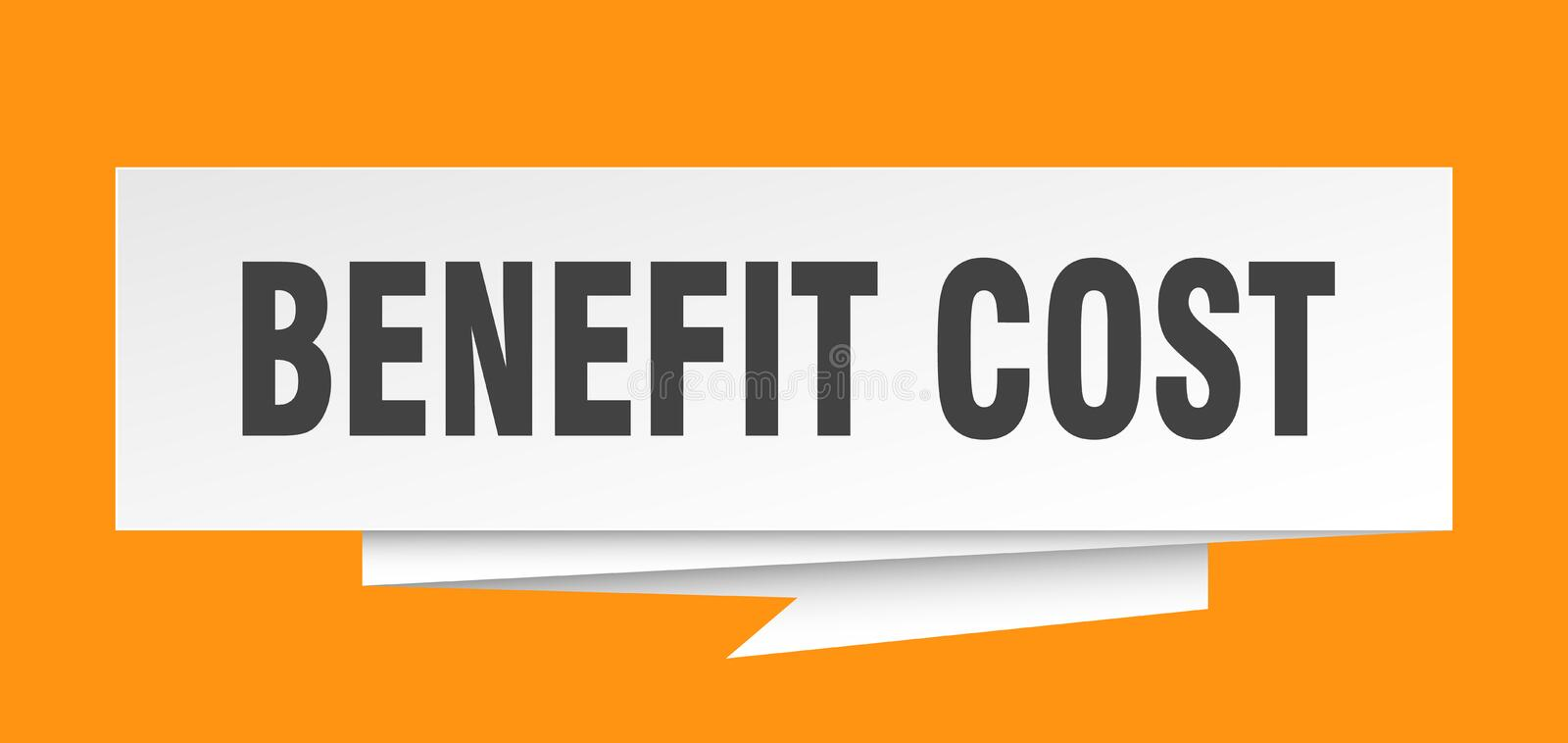 Benefit cost. Sign.  paper origami speech bubble.  tag.  banner royalty free illustration