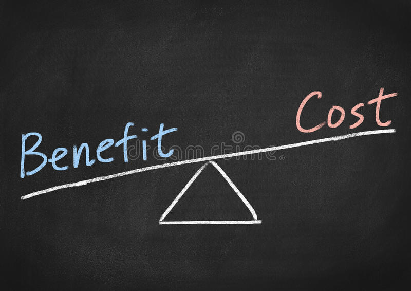 Benefit cost concept royalty free stock photos