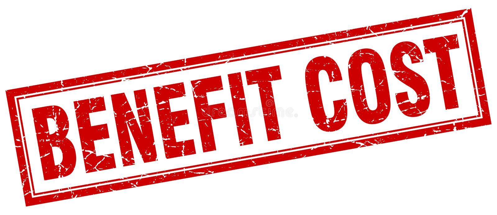 Benefit cost stamp. Benefit cost square grunge stamp. benefit cost sign. benefit cost royalty free illustration