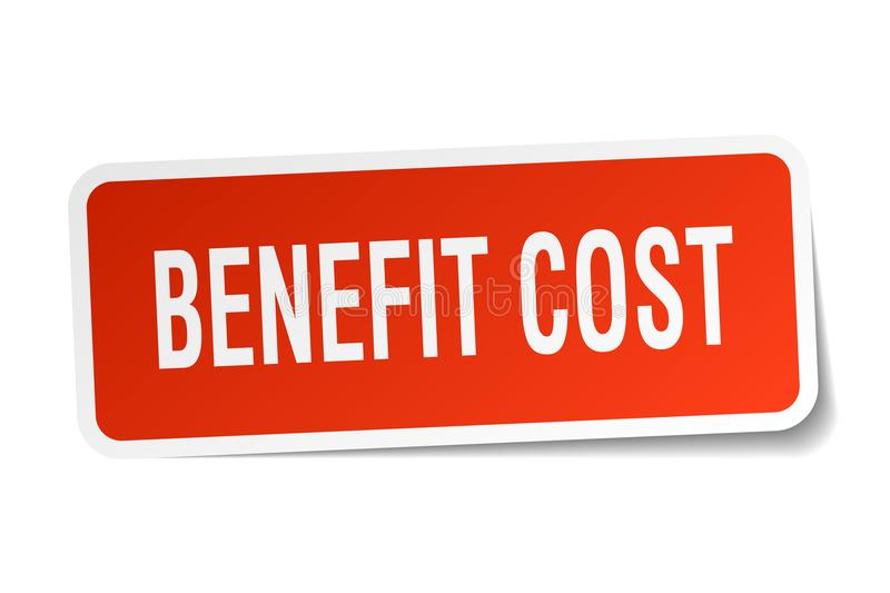 Benefit cost sticker. Benefit cost square sticker isolated on white background. benefit cost vector illustration