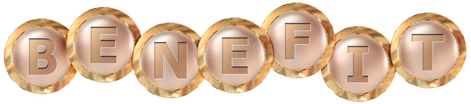 Benefit tag banner. Benefit 3d rendered golden tag banner , isolated on white background stock illustration