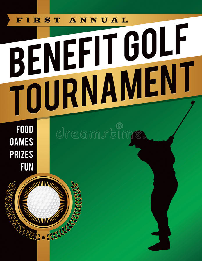 Benefit Golf Tournament Illustration. An illustration template for a benefit golf tournament. Vector EPS 10 available. EPS file is layered for separation of text royalty free illustration