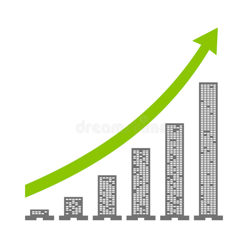 Benefit graph with buildings. And white background vector illustration