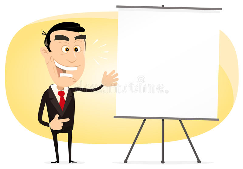Benefit Growth. Illustration of an elegant cartoon businessman showing benefit growth on powerpoint white paper board stock illustration