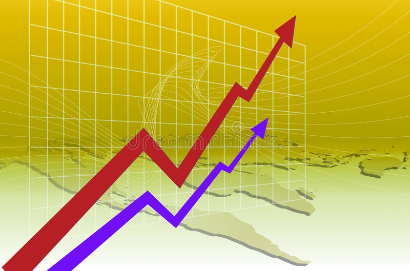Benefit Increase. Business benefit Increase of graph stock illustration