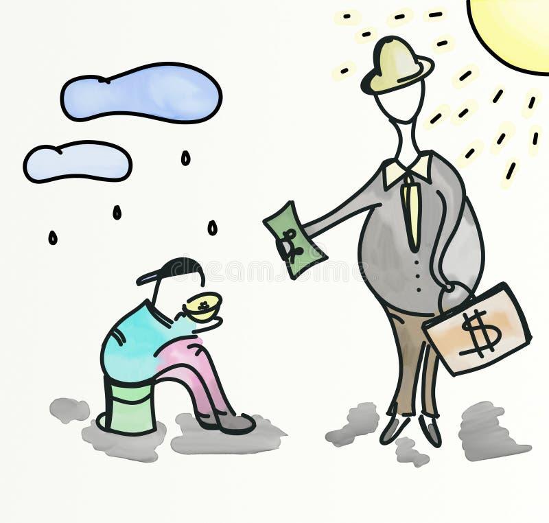 Benefit poor. Rich man benefit poor man illustration royalty free illustration