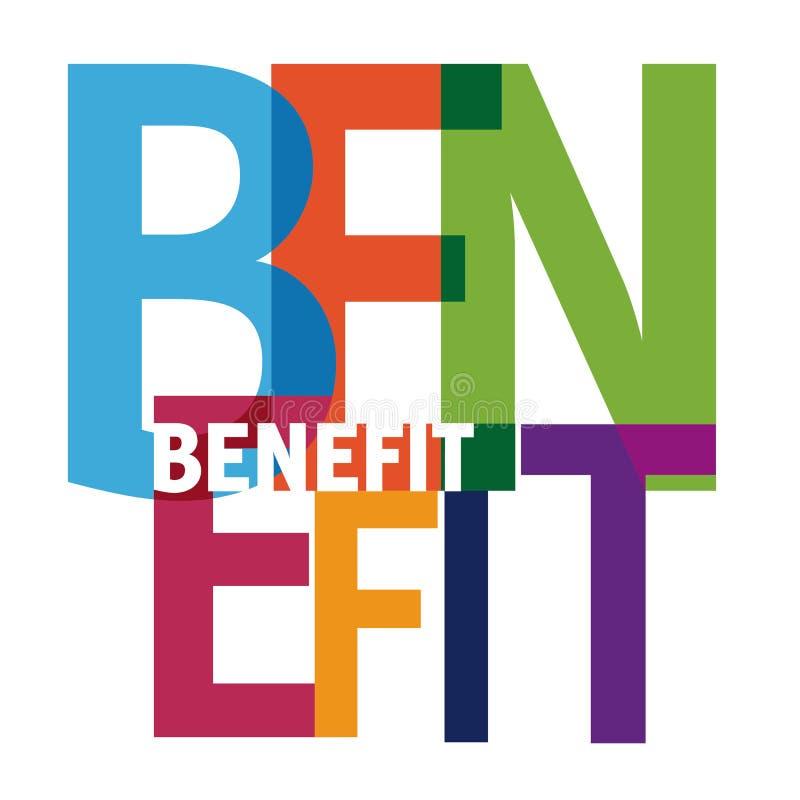 Benefit symbol. Illustration - colorful letters royalty free illustration