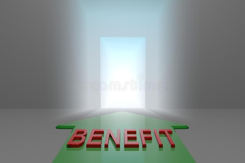 Benefit to the open gate. Green arrow with benefit word front of the open gate , 3d rendered vector illustration