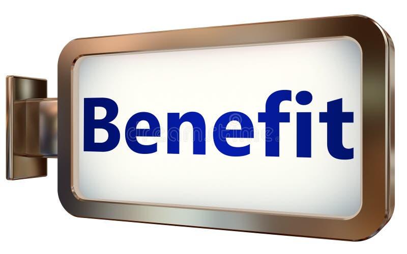 Benefit on billboard background. Benefit wall light box billboard background , isolated on white stock illustration
