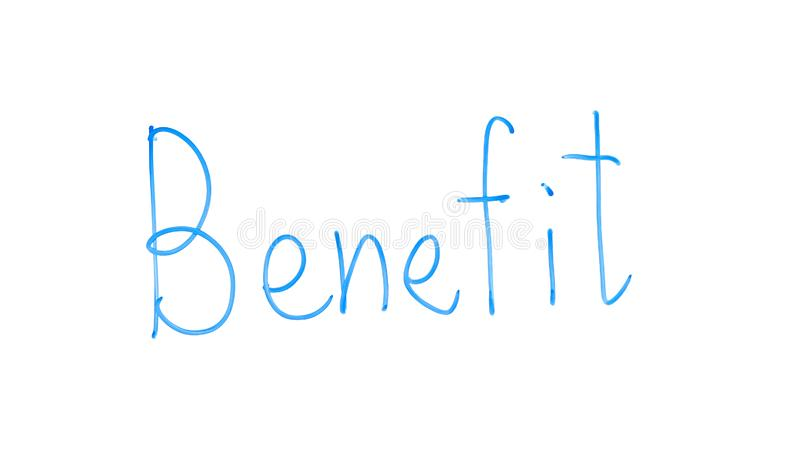 Benefit word written on glass, receiving business profit or additional salary stock photography