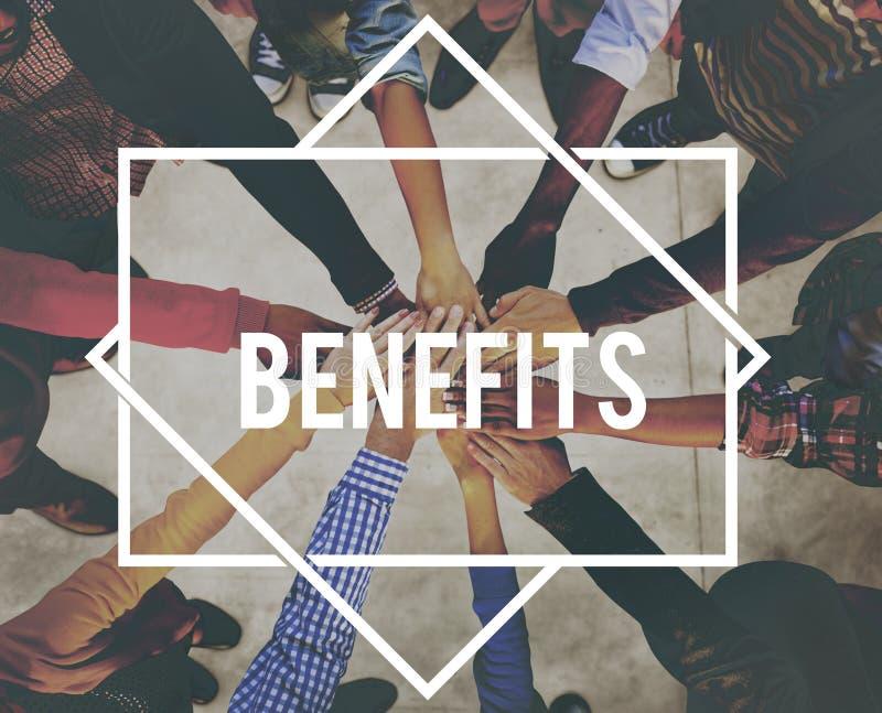 Benefits Advantage Assistance Income Value Concept stock image
