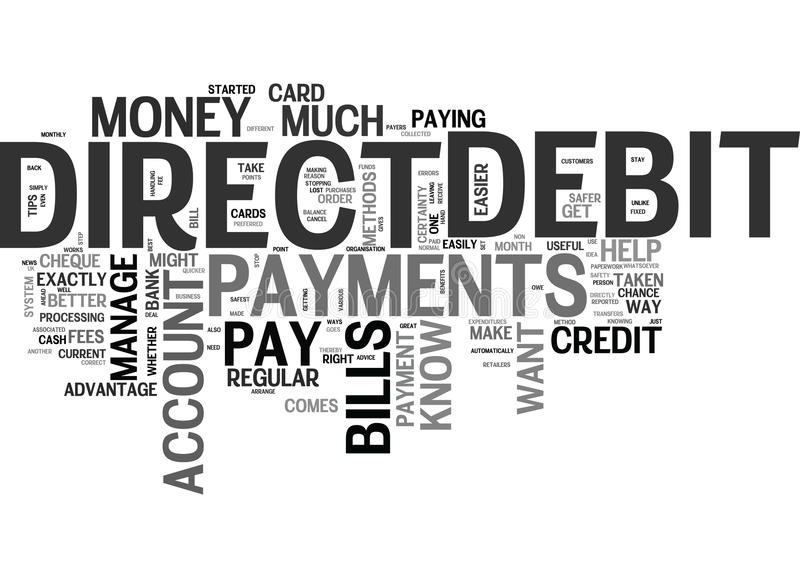 Benefits Of Direct Debit Payments Word Cloud royalty free illustration