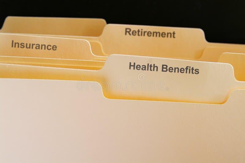 Benefits folders stock photo