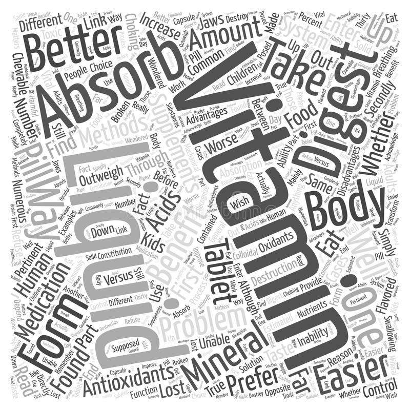 Benefits of liquid vitamins word cloud concept vector background. Text royalty free illustration