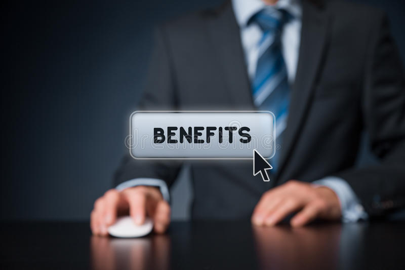 Benefits. Man click on virtual button with text benefits stock photography