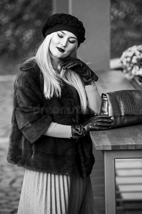 Benefits to wearing fur. elegant woman wear fur coat. beauty and fashion. autumn and winter style. Incomparable Warmth. Faux fur vs real fur. visual aesthetics stock photos