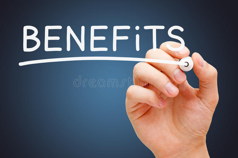Benefits White Marker. Hand writing Benefits with white marker on transparent wipe board stock photo