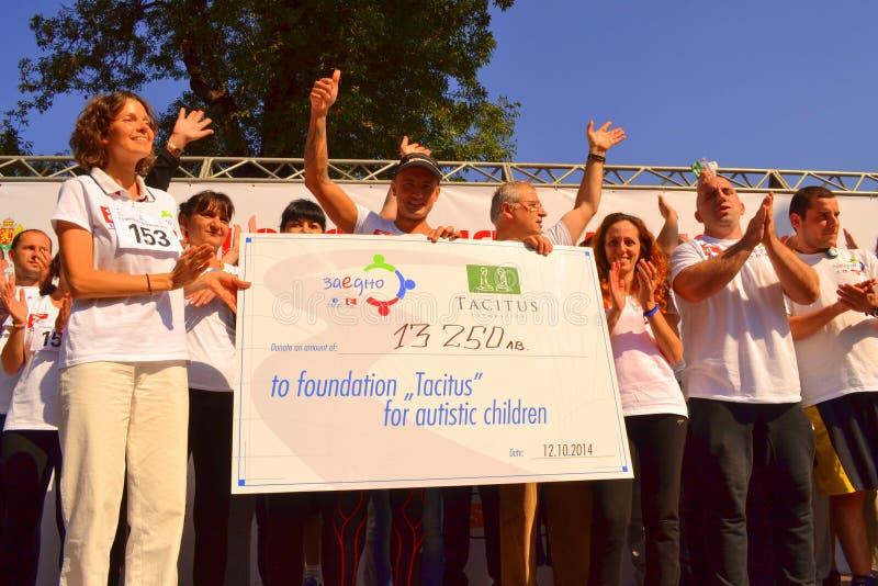 Benefizlaufteilnehmer Sofia Marathon stockfotos
