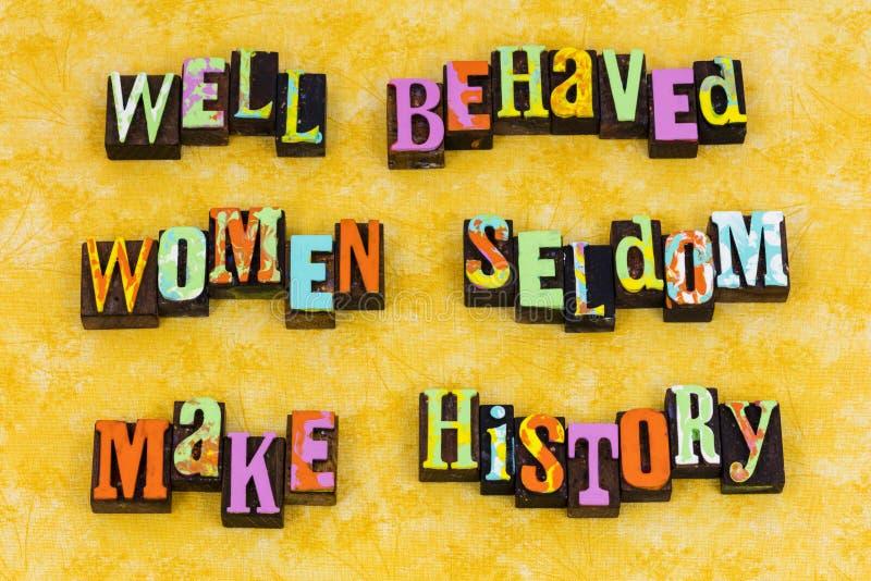 Benehmen Sie sich den Frauenverhalten-Führungsfeminismus lizenzfreies stockfoto