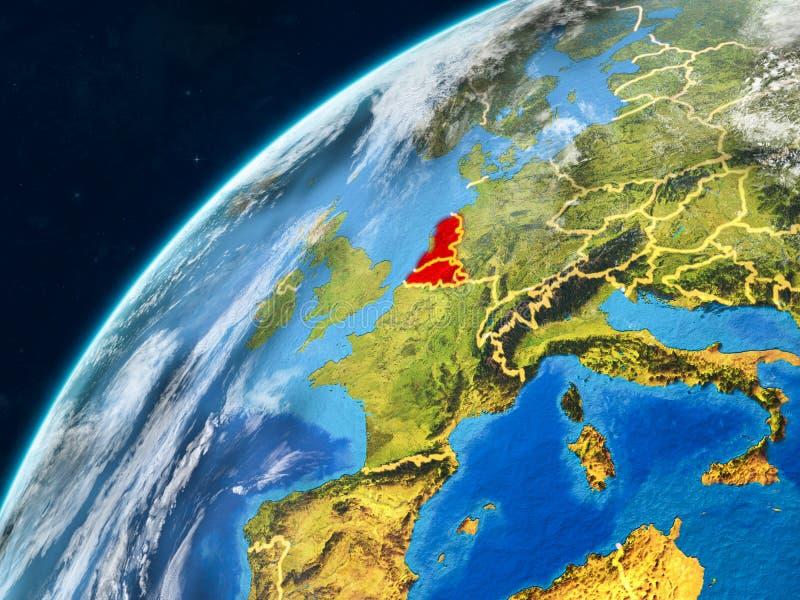 Benelux-Verband auf Erde mit Grenzen stockfotos