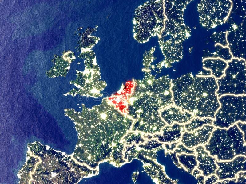 Benelux-Verband auf Erde nachts stockbilder