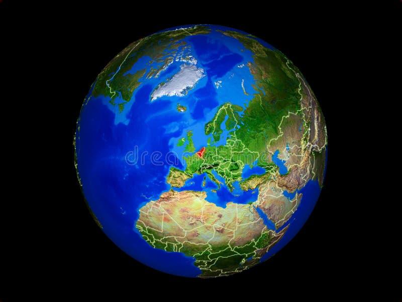 Benelux-Verband auf Erde vom Raum stockfotos