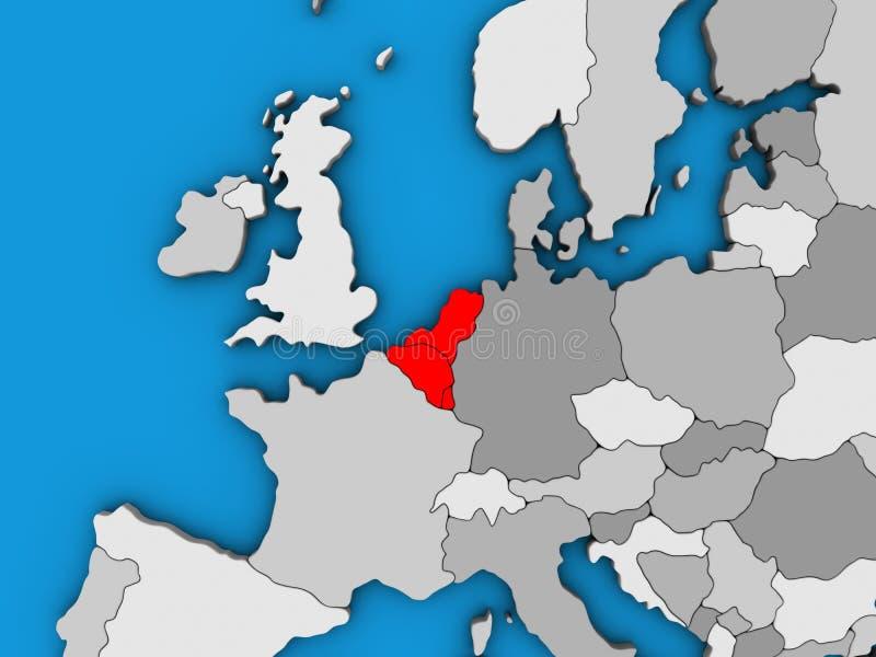 Benelux zjednoczenie na 3D mapie ilustracja wektor