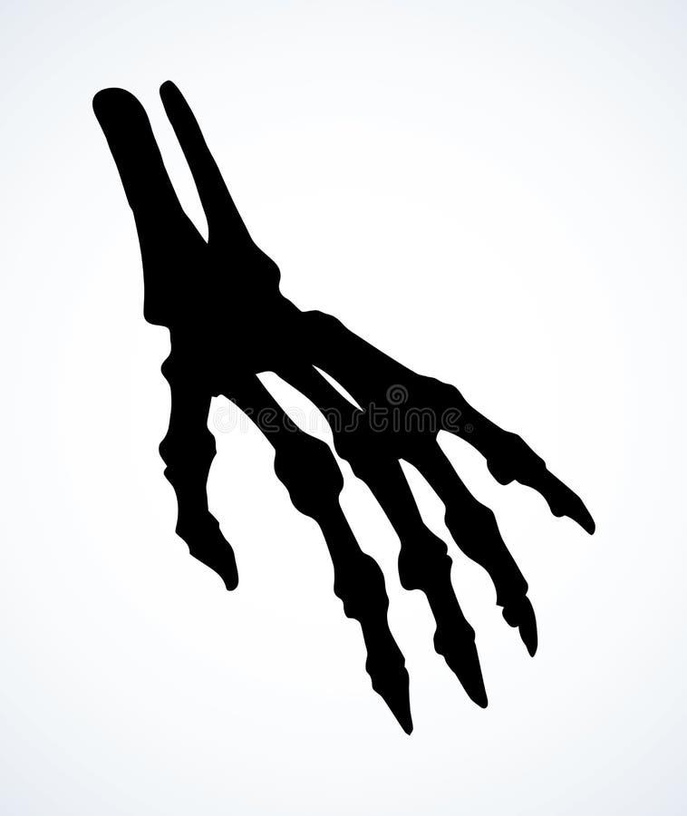 Benen av handen bakgrund som tecknar den blom- gr?svektorn royaltyfri illustrationer