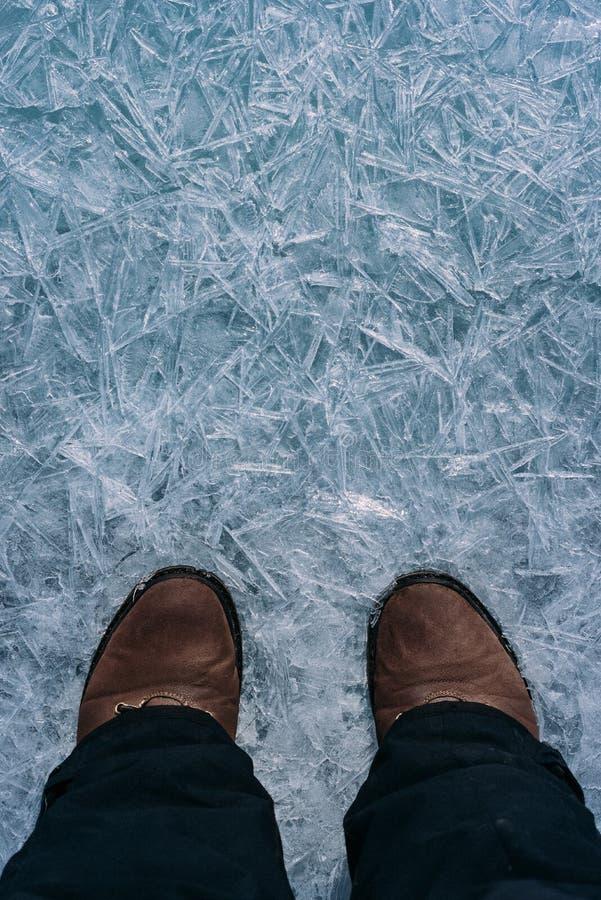 Benen på isen royaltyfria bilder