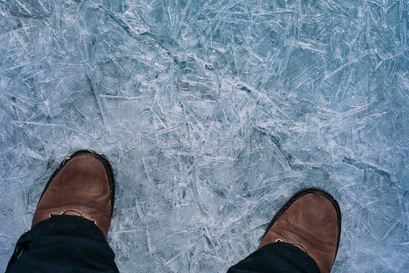 Benen på isen arkivbild