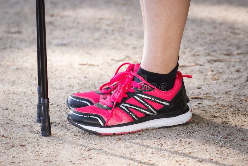 Benen van bejaarde hogere vrouw en noordse wandelstokken, sportieve levensstijlen stock fotografie