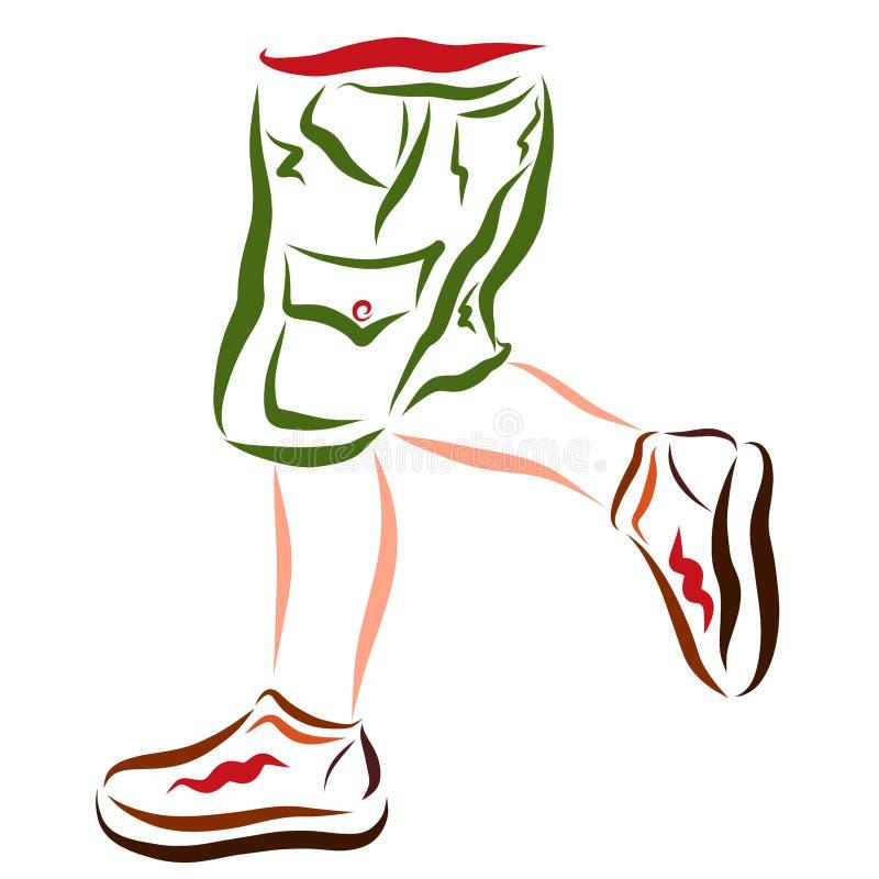 Benen van een lopend of dansend kind in borrels en sportenschoenen stock illustratie