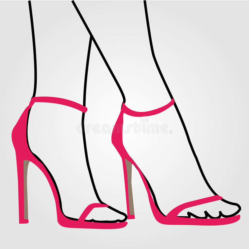 Benen van een vrouw die stiletto's dragen royalty-vrije illustratie