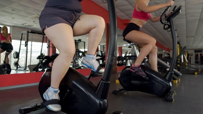 Benen van mollige en slanke vrouwen die op stationaire fietsen in gymnastiek, sporttraining pedaling stock fotografie