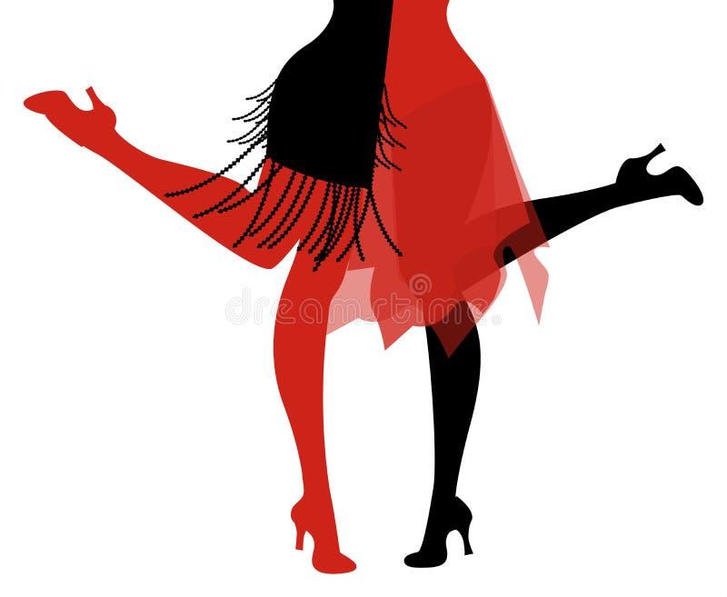 Benen van twee vinmeisjes die retro kleding dansend Charleston dragen stock illustratie