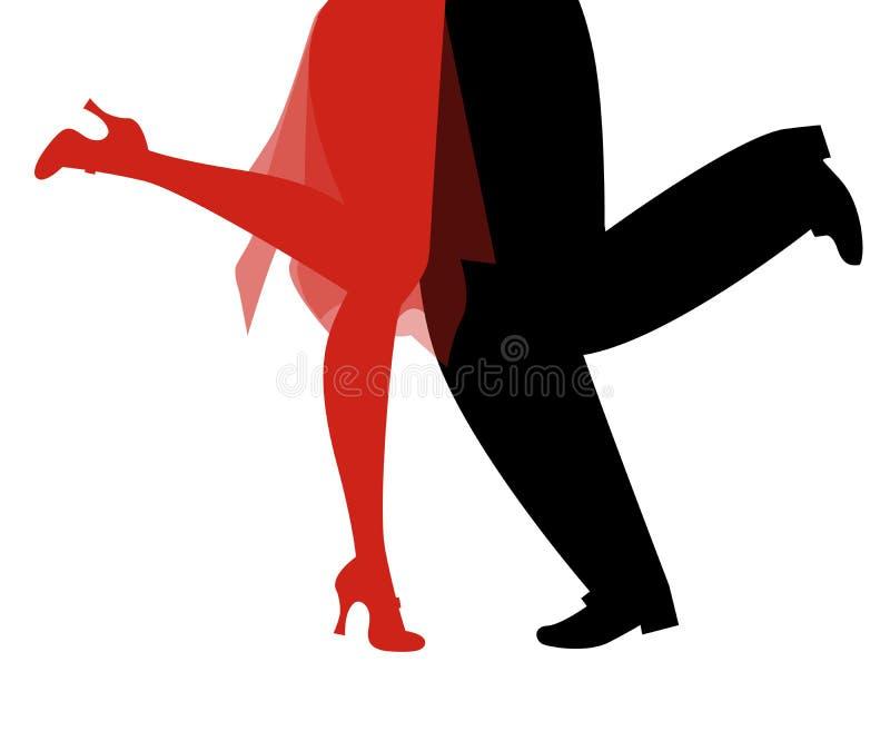 Benen van vrouw en de mens die retro kleren dansend Charleston dragen royalty-vrije illustratie