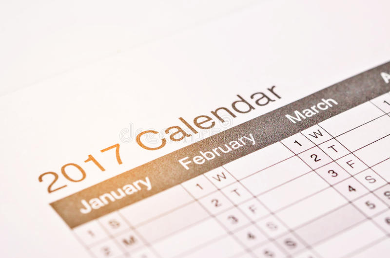 Benennung des 2017 Kalenders stockfoto
