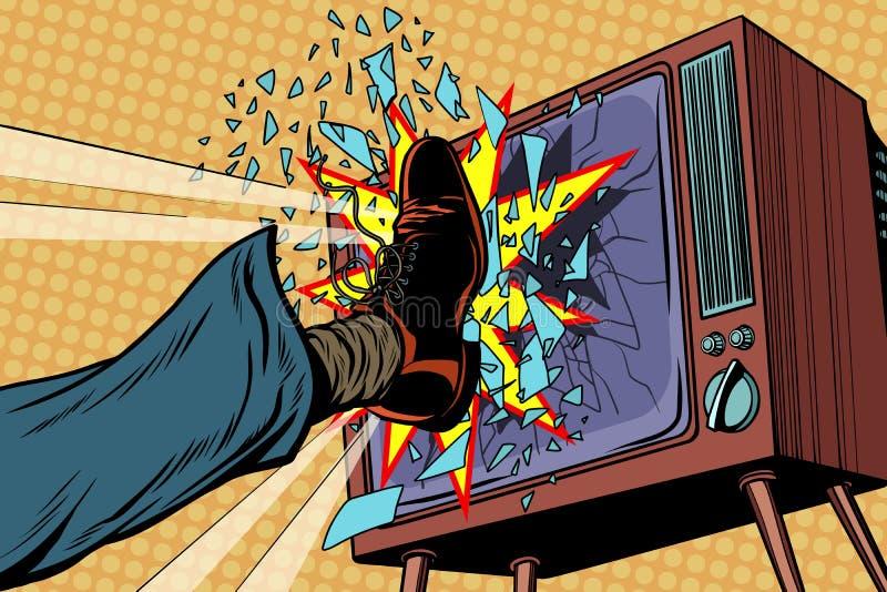 Benet bryter TV, begrepp fejkar nyheterna stock illustrationer