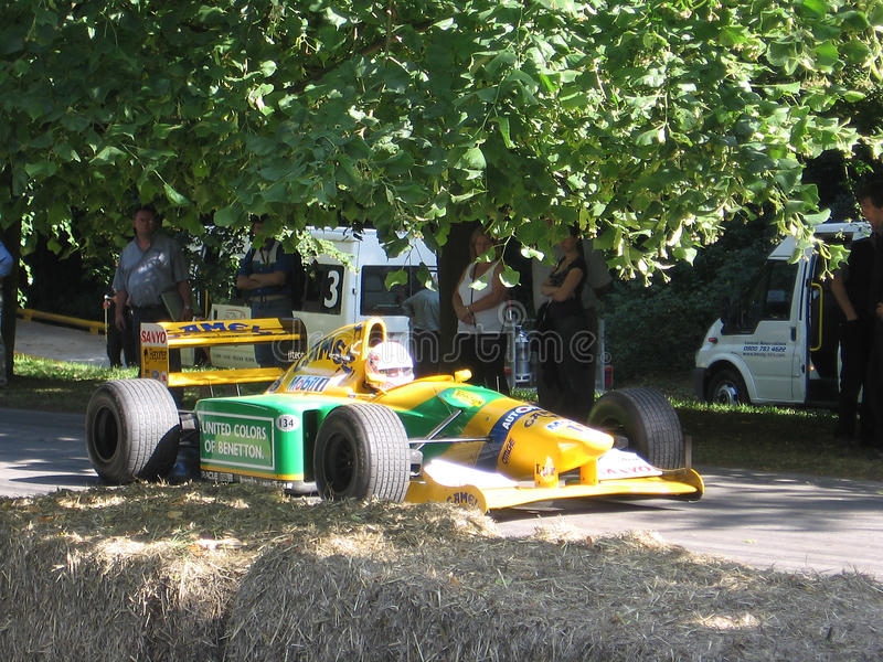 Benetton F1 car at the 2009 Goodwood Festival of Speed. Benetton 1990 Formula 1 Grand Prix race car at the 2009 Goodwood Festival of Speed stock photo