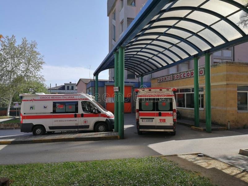 Benevento - Noodsituatieafdeling van het Burgerlijke Ziekenhuis stock afbeelding