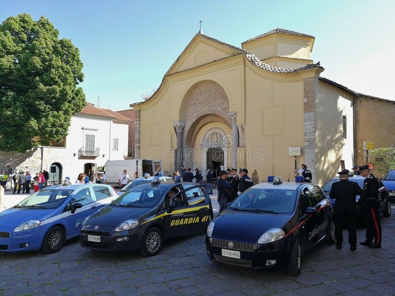 Benevento - siły rozkaz w piazza Santa Sofia obraz royalty free