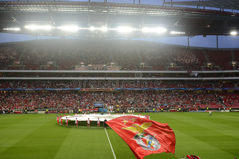 Benfica Flag, Soccer Stadium, Football Arena, Champions League Teams and Crowd Fans, Night Scene stock images