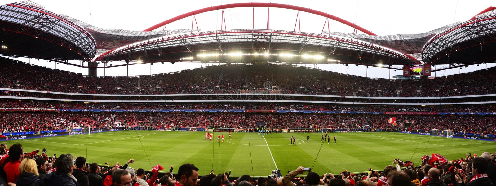 Benfica Soccer Stadium Panorama, European Football Fans, Champions League UEFA stock photography