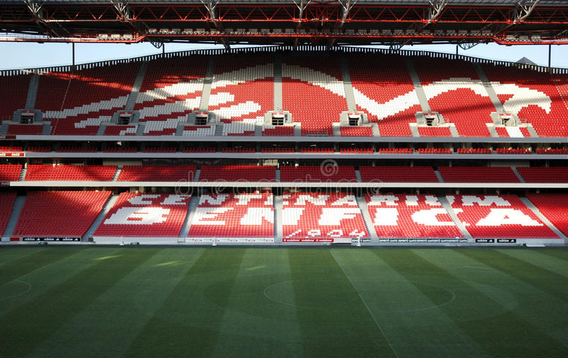 Empty Benfica Soccer Stadium, Sports Architecture. Sport Lisboa e Benfica (or Sport Lisbon and Benfica) soccer stadium. Founded in 1904, Benfica is the most stock image