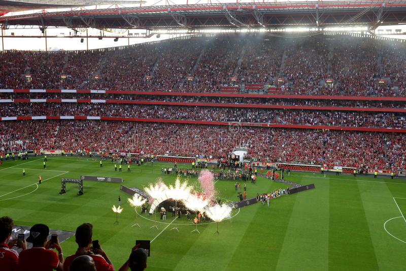 Benfica Stadium_Football Champion Party_Soccer Crowd. May 23th, 2015 - Benfica Stadium: the home players and red crowd celebrate their 34th nacional league title royalty free stock photography