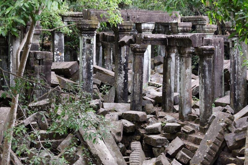 Beng Mealea寺庙,吴哥窟,柬埔寨石头废墟  图库摄影