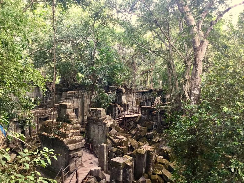 Beng Mealea Angkor Temple, Cambodia. Beng Mealea or Bung Mealea is a temple in the Angkor Wat period located 40 km east of the main group of temples at Angkor stock image