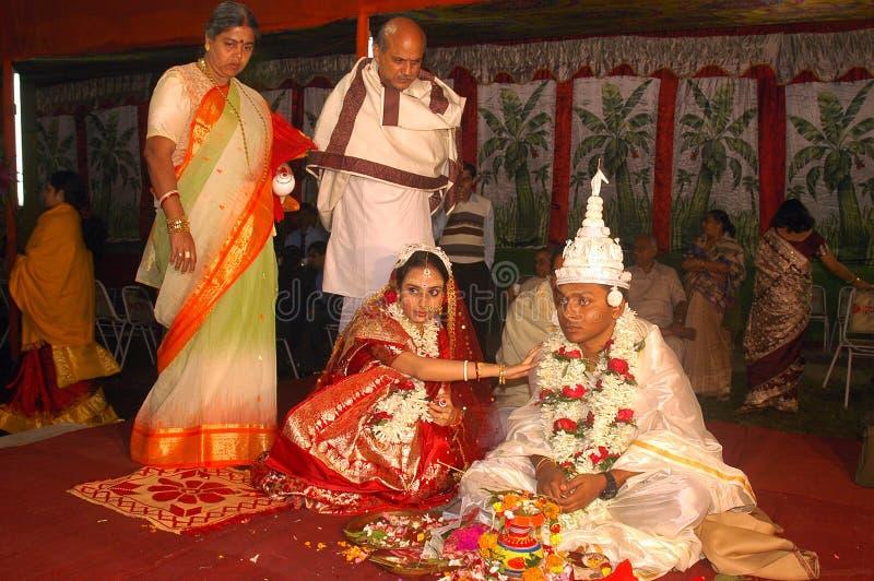 Bengaalse huwelijksRituelen in India royalty-vrije stock afbeelding